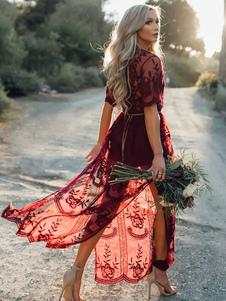 Vestiti Lunghi Bordeaux Abiti Lunghi maniche corte in chiffon stampa floreale Vestiti Lunghi Eleganti abbigliamento giornaliero catenine