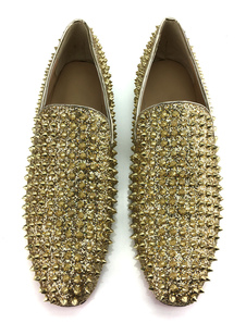 Men's Gold Glitter Spike Loafers Slip On Prom Shoes Party Shoes