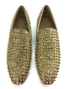 Мужчины Loafers Square Gold Prom Обувь Круглый Toe Wood Heel Заклепки Slip On Glittering Party Shoes