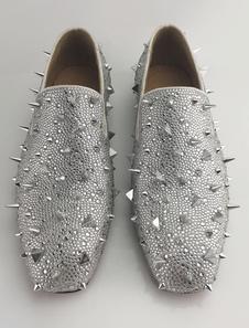 Homens de prata mocassins 2020 sapatos de baile de couro Glitter rebites escorregar em sapatos Spike