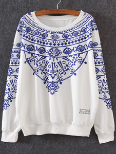 Camisola de pulôver branco redondo pescoço longo manga impresso algodão Top para as mulheres