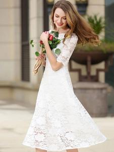 Laço branco vestido Bateau meia manga fino ajuste Skater vestido para mulheres