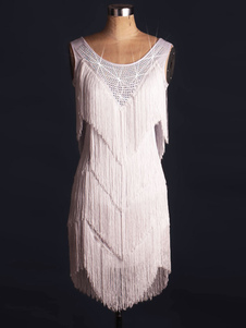 الرقص اللاتينية زي هالوين المرأة الأبيض هامش فستان كريستال