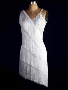 الرقص اللاتينية اللباس غير النظامية تصميم بلا أكمام هامش مطرز عارية الذراعين bodycon زي الرقص اللاتينية