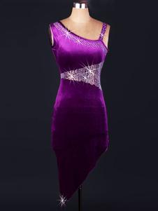Costume Carnevale Costume da ballo latino americano per adulti velo violo interpretazione chic & moderno abito monocolore