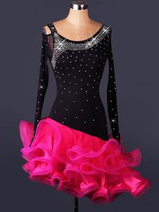 Costume Carnevale Costume da ballo latino americano roseo velo chic bicolore ballerino Latino di cristallo del diamante abito per adulti interpretazione