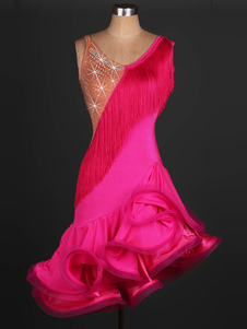 ارتفع اللاتينية الرقص زي هامش حجر الراين بريق الأورجانزا اللباس الأداء للنساء