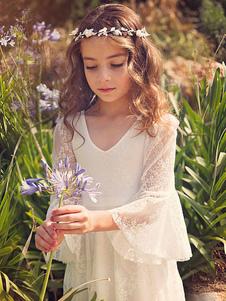 Vestido de niña para boda 2020 estilo Bohemia para las damitas de encaje blanco con cuello en V con faja con 3/4 manga