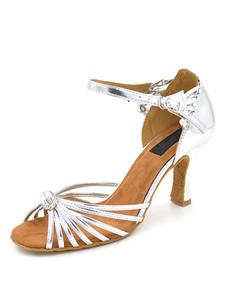 Zapatos de bailes latinos de puntera abierta de tacón de stiletto de PU plateados para baile