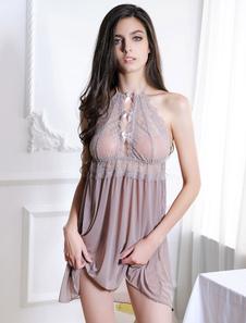 Vestido de Noite Alças curto para em casa com laço sexy com renda chemises & babydolls 2-peças