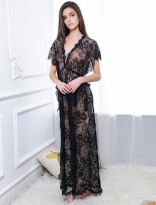 Vestido sexy de tul negro Color liso con abertura lateralsemi-transparente para uso en sala sexy Vestido largo&Tanga