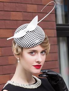 Costume Carnevale Copricapo cappello colore blocco stile British accessorio a scacchi vintage per donne