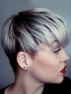 ショートウィッグ 銀灰色 混合の髪 ショートヘア シック&モダン ハイライト&ローライト