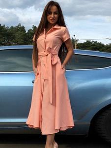Vestido vintage de poliéster com laço No Built-in Bra com mangas curtas Verão chique & moderno