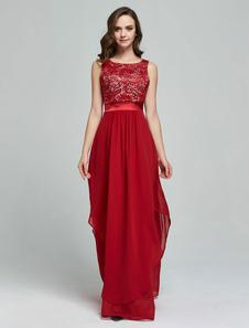 Vestido largo Rojo Moda Mujer Jacquard sin mangas Vestidos de chifón asimétrica arrugada con escote redondo Verano para baile