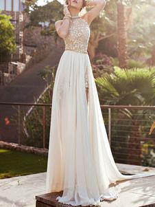 Vestiti Lunghi Bianco  a pieghe in chiffon monocolore smanicato Vestiti Lunghi Eleganti scollato sulla schiena con collo arrotondato