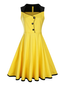 Amarelo Vestidos Vintage Mulheres Sem Mangas 2 cores Retro Fit And Flare Dress