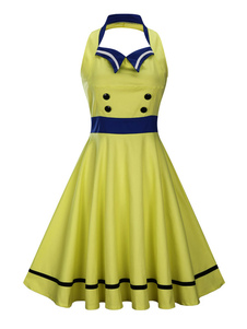 Amarelo Vestidos Vintage Halter mangas Mulheres Double Breasted Retro Fit And Flare Dress