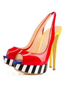 Высокий каблук сандалии заглянуть женщин Slingback цвет блока шпильках платформы сандалии