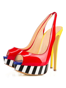 Sandálias 2020 de Salto Alto Peep Toe Slingback Color Block Stiletto Sandálias para as mulheres