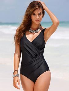 Черный купальный костюм V-образным вырезом без рукавов Ruched Slim Fit Beach Swimwear