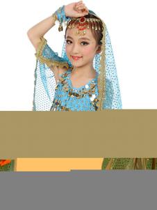 Танец живота костюмы малышей Голубой шифон рукавов индийский Болливуд, танцы костюмы