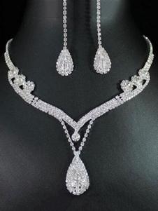 Collana del pendente dei Rhinestones d'argento dei monili di 2 pezzi con gli orecchini di goccia