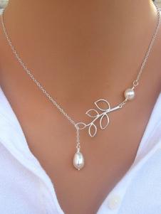 Colar de pingente de prata colar de pérolas da mulher colar de forma de folha