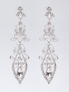 Gli orecchini di cerimonia nuziale d'argento hanno ritagliato gli orecchini di goccia