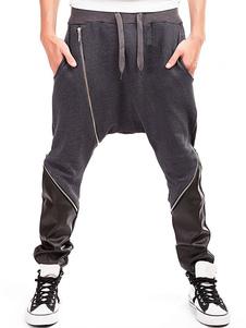 Брюки мужские из гарема Черные молнии из лоскутков цветных брюк