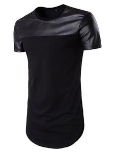 Camiseta con escote redondo de algodón mezclado con manga corta de color-blocking estilo informal para ocasión informal