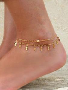 Cadena de pie con hojas de metal para mujer estilo de playa Corchete de la langosta
