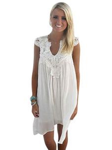 براون الصيف اللباس الشيفون الخامس الرقبة قصيرة الأكمام مطوي التحول اللباس للنساء