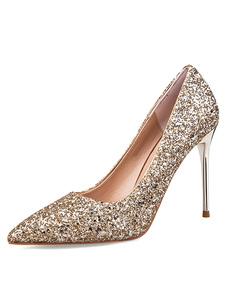 Женские выпускные туфли с точечными пятками на каблуках