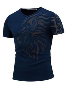 Camiseta de algodón con escote redondo con manga corta con estampado estilo informal para ocasión informal