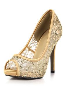 Zapatos de punter Peep Toe de tacón de stiletto de satén con lazoelegantes para fiesta formal Tri0D