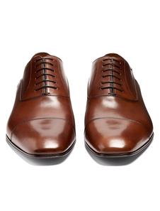Zapatos de vestir Planos de puntera cuadrada de cuero marrón Color liso estilo modernopara hombre Verano
