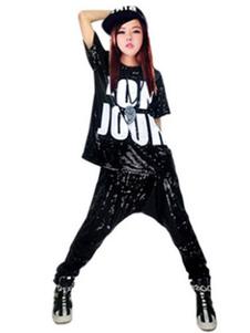 Hip Hop Vestuário Trajes de dança Sequined impresso camiseta com calças de Harem