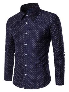 القمصان الزرقاء العميق المطبوعة الرجال قمصان طويلة الأكمام عارضة