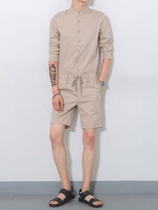 Hombre Khaki Casual Mono 2020 con Cuello Duro Manga Corta con Tira de Cintura