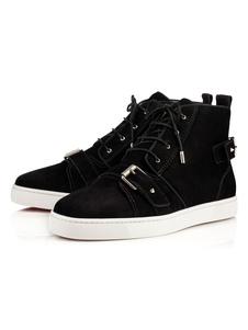 Zapatos de lona de felpa Color liso con cordones estilo moderno de puntera redonda Otoño para pasar por la noche