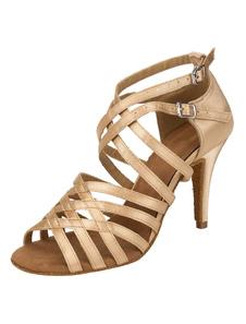 Scarpe da ballo latino 2020 Satin Strappy Criss Cross Buckled Stiletto Champagne Ballroom Dance Shoes