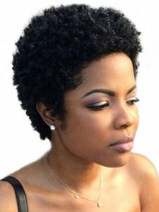 شعر مستعار الأفرو الأسود شعر مستعار قصير مجعد المرأة شعر الإنسان