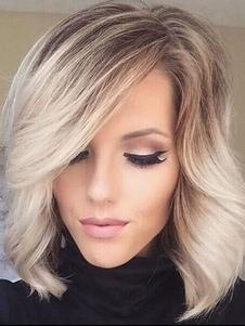 Парики человеческих волос Длинные вьющиеся стороны Разделяющие женские абрикосовые парики
