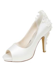 Scarpe da sposa per la festa di matrimonio avorie tessuto tacco a fino 10cm a punta aperta pizzo perle eleganti