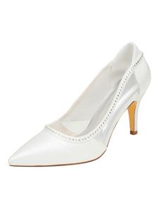 العاج أحذية الزفاف الحرير عالية الكعب واشار تو الراين الانزلاق على مضخات