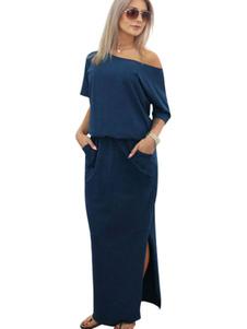 المرأة ماكسي فساتين الظلام البحرية المائل الكتف قصيرة الأكمام الصيف فستان طويل