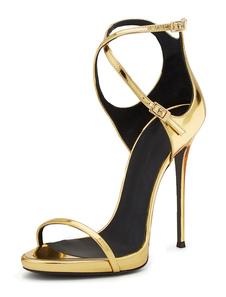 Sandali con tacco alto 2020  in oro punta aperta in pelle criss cross da sera per le donne