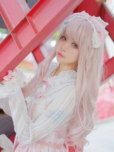 الوردي لوليتا الباروكات طويل مجعد بلانت الدوي Kawaii الاصطناعية الشعر المستعار