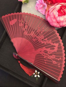 Japanese Sensu Uchiwa Bijin Red Scenery Folding Fan Halloween